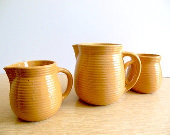Earthenware Pitcher Set Vintage Glazed Pottery