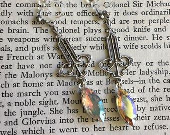 Aurora Borealis Swarovski Rhinestone Invisible Resin Clip On Earrings / Victorian Bridal Clip Earring / Art Deco Dangle Clipon