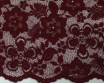 Burgundy 58'' Caroline Floral Scalloped Nylon Stretch Lace Fabric by the Yard- Style 686