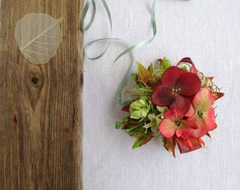 Gift wrap bow - Gift topper, Gift wrap -  All ocassion - Gift for her - Hydrangeas - Autumn - Green&Red