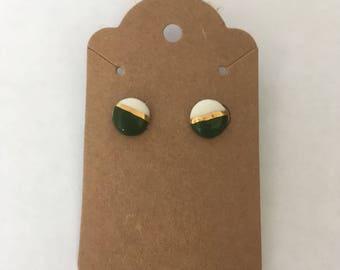 Hand painted ceramic stud earrings