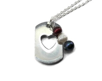 Dog Tag Necklace - Red, White, and Blue Military Necklace - Military Wife Gift - Armed Forces Jewelry - Patriotic Necklace - Deployment Gift