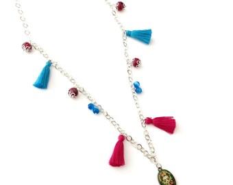 Frida Kahlo tassel necklace, Frida Kahlo necklace, Frida Kahlo beaded tassel necklace