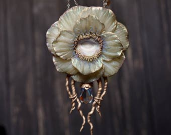 Antique Sea Jelly Flower one of a kind Statement Necklace