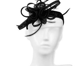 Occasion hats for Women, 1920's style, Wide Satin Headband Velcro attached, Party Hat, Fascinator for weddings or the Races. Retro - Black