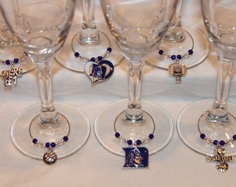 Duke Blue Devils Wine Charms Set of 6 Duke Charms College Charms Blue Devils Charms