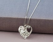 Heart cut out necklace  floral heart  love heart necklace  Silver heart necklace  heart jewellery  heart jewellery  bridesmaid