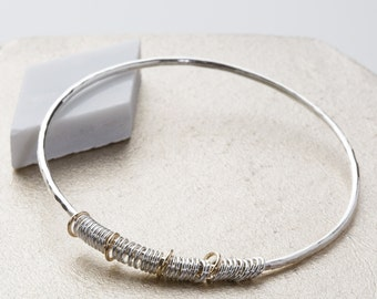 Silver and gold 40th birthday gift - 40th birthday jewellery - contemporary bangle - sterling silver bangle - anniversary gift