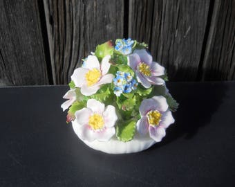Vintage Porcelain Flowers - Ansley England - Hand Modelled, Hand Painted - Fine Bone China