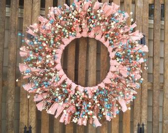 Easter Wreath, Spring Wreath, Pastel Wreath, Cottage Wreath, Shabby Wreath, Rag  Wreath,  Berry Wreath, Coral Pink Wreath, Nursery Wreath