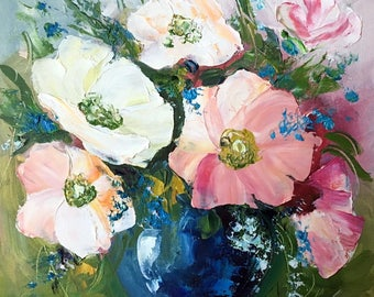 Oil Painting on canvas panel Original painting Flower wall art Home decor wall art Kitchen décor Still life painting
