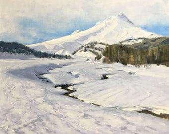 Winter's Allure - Original contemporary landscape painting - Oil Painting