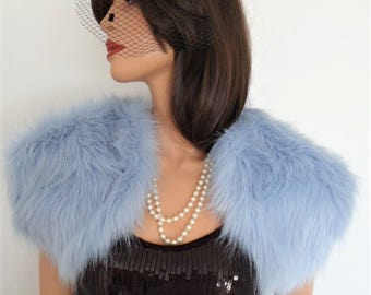 luxury faux fur bolero, shrug, wrap, stole in powder, pale, pastel blue