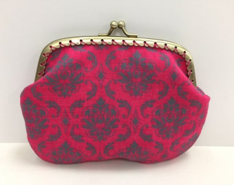 Large Hot Pink Damask Coin Purse