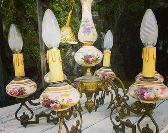 Roses Porcelain 6 Arm Pendant Light Fitting french vintage brass Chandelier