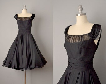 50s Dress // 1950's Black Silk Chiffon Off-The-Shoulder Dress // Small