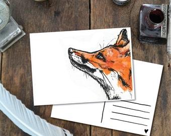 Fox Head - Postcard with Illustration, fox head ink orange