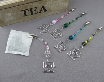 FIVE Tea Bag Steepers - clip for tea bags with silver tea cup and beads - beaded tea steeper