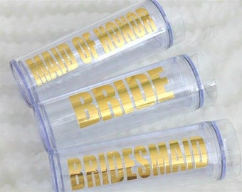 Wedding Tumbler, gold, custom tumbler, personalized tumbler, bridesmaid gift, maid of honor gift, bachelorette party, monogram tumbler
