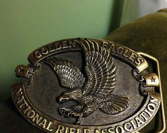 Golden Eagles National Rifle Association NRA Brass Belt Buckle