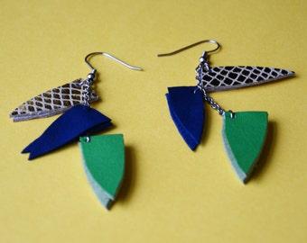 Boho ethnic earrings , Leather long earrings, statement earrings, gift for her, gift under 15, Bold colorful earrings, Bohemian jewelry