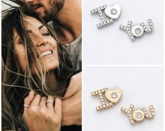 Love earrings, I love you earrings silver 925 with zircons, stud love earrings, gift for her, love stud earrings, love gift