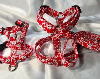 dog harness and matching leash set - skull in red or black