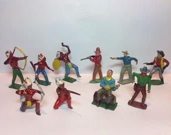 Antique Lead 'Wild West' Figures Set. Lead Cowboys & Indians.