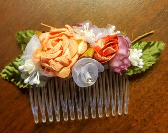 Colorful floral hair comb