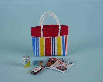 Beach Bag or Tote with Beach Accessories - 1:12 or 1/12 Scale Dollhouse Miniature, Bold Beach Stripe, Red Trim, Beach, Vacation, Garden