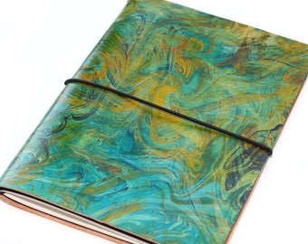 Green Refillable A5 Leather Bound Sketchbook, Nature, Handmade