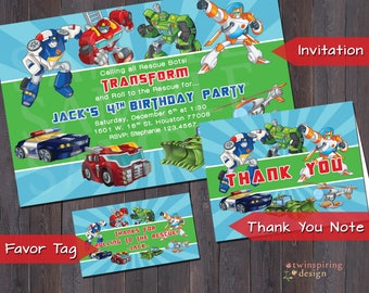 Rescue Robots Birthday Party Invitation, Thank You Note, and/or Favor Tag DIGITAL FILES