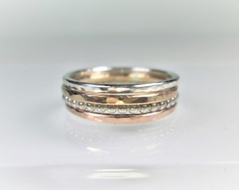 4 Stacking Rings, 1.3mm Wide, Set of 4 Hammered Rings; Sterling Silver, 14K Gold Filled, and 14K Rose Gold Filled Rings