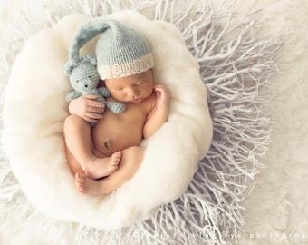 Newborn knit long tail knotty hat and crocheted buddy bear set 100% wool soft fresh colour