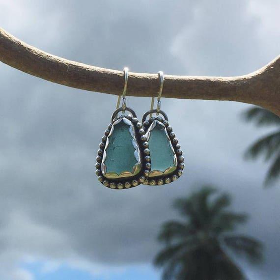 light teal sea glass dangle earrings