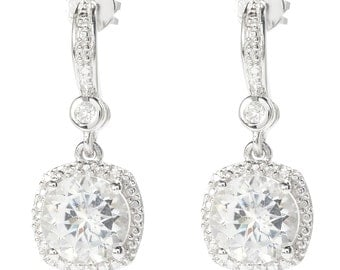 """Rhodium Over Sterling Silver 4.8ctw White Topaz Drop Earrings 1""""L"""