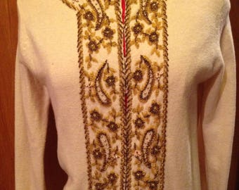 1950's Beaded Champagne golds and bronzes sweater beaded cardigan VLV