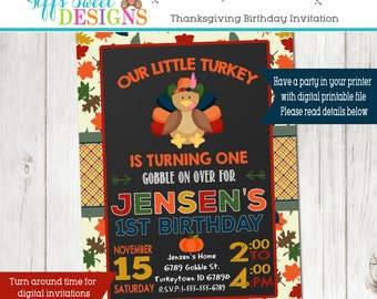 Our Little Turkey Birthday Party Invitation - Fall Birthday Party - Autumn Birthday Invitation November Birthday _ Chalkboard