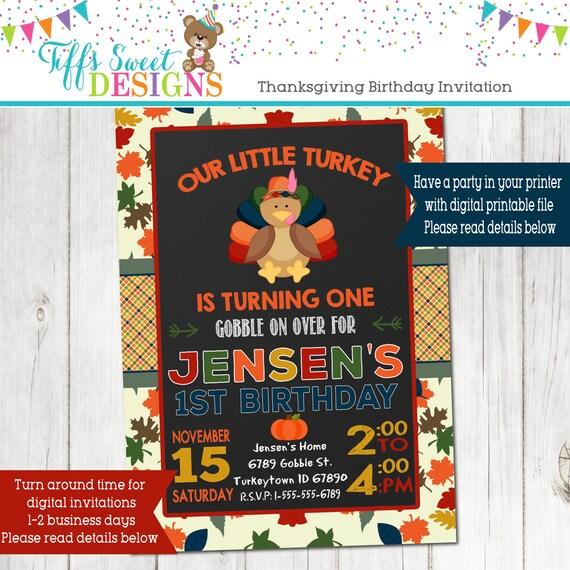 Our Little Turkey Birthday Party Invitation