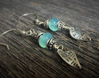 Modern Detailed Sterling Silver Earrings With Faceted Aqua Chalcedony Rondelle Gemstones OAK