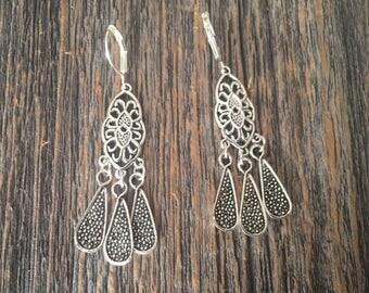 Filigree Tibetan Silver Detailed Chandelier Earrings