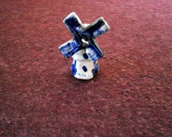 Windmill Figurine Miniature Vintage Delft Blue Porcelain Ceramic Dutch Moves
