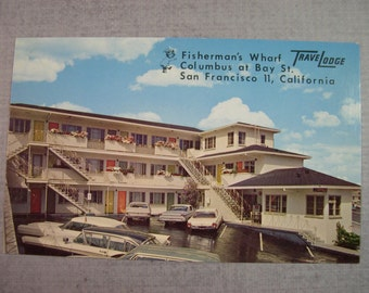 Fishermans Wharf Travelodge San Francisco vintage souvenir Postcard