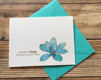 Teal Blue Handmade Watercolor Blank Flower Doodle Greeting Cards, Flower Cards, Flowers, Sending Happy Thoughts Your Way Cards, Hello Cards