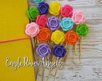 Large flower paper clips / large flower page marker / large flower paperclips