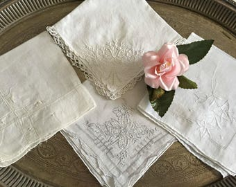 Vintage Lot of Linen Handkerchiefs, White Cotton Embroidered Floral Handkies, Set of 4 Tatted Embroidery