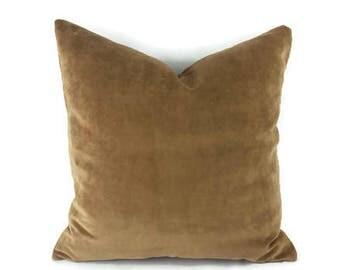 Capri in the color Palomino - Brown Velvet Pillow Cover