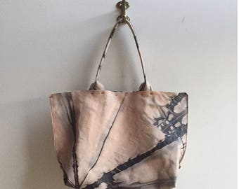 Hand -dyed Leather Tote Bag