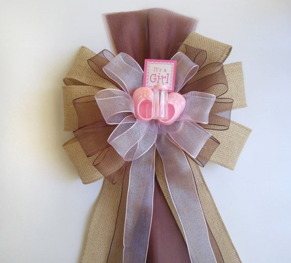 Girl baby shower bow burlap brown pink bow baby shower for Baby hospital door decoration