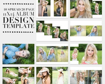 Classic Modern 11x14 Senior and Newborn Album Photoshop Template